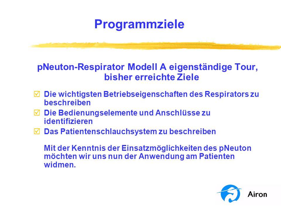 Programmziele pNeuton-Respirator Modell A eigenständige Tour, bisher erreichte Ziele þDie wichtigsten Betriebseigenschaften des Respirators zu beschre