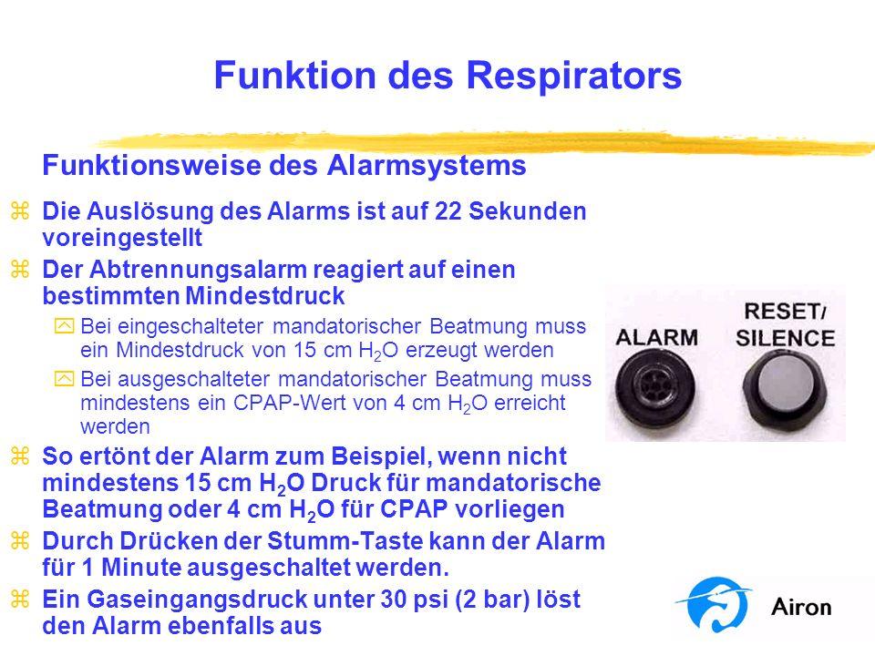 Funktion des Respirators Funktionsweise des Alarmsystems zDie Auslösung des Alarms ist auf 22 Sekunden voreingestellt zDer Abtrennungsalarm reagiert a