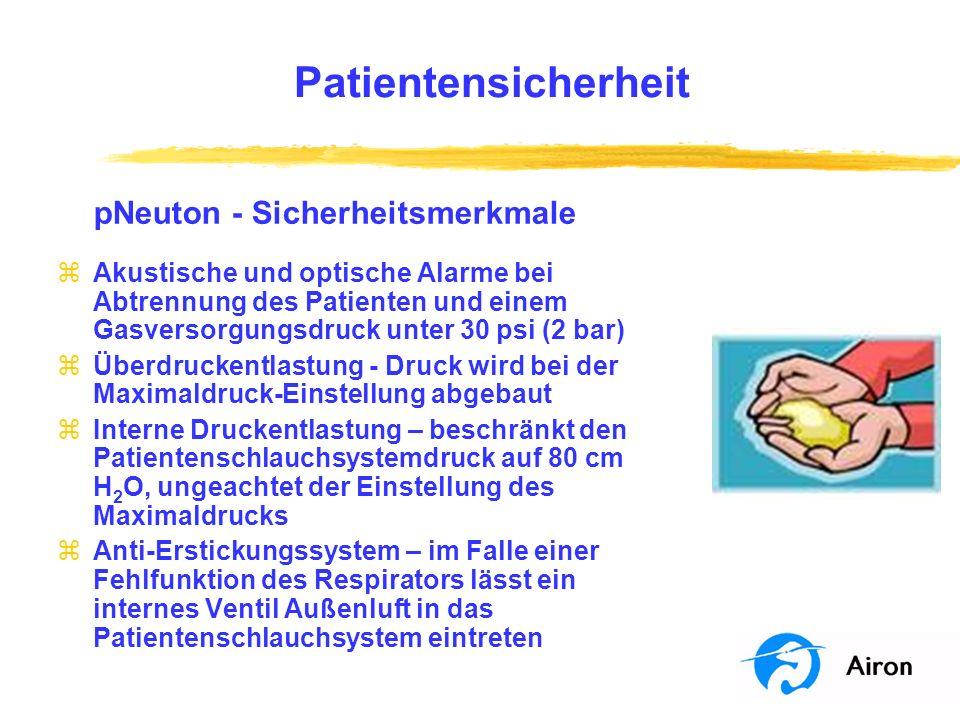 Patientensicherheit pNeuton Sicherheitsmerkmale zAkustische und optische Alarme bei Abtrennung des Patienten und einem Gasversorgungsdruck unter 30 ps