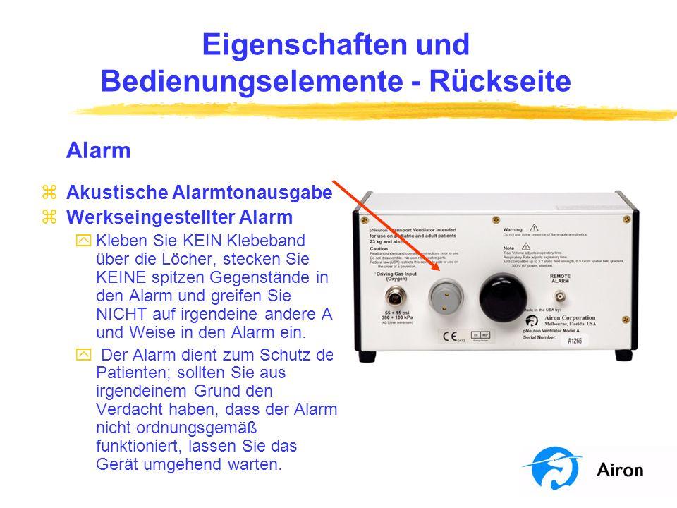 Eigenschaften und Bedienungselemente Frontpaneel Druckanzeige zZeigt den Druck im Patientenschlauchsy stem am Ausgang des Respirators an