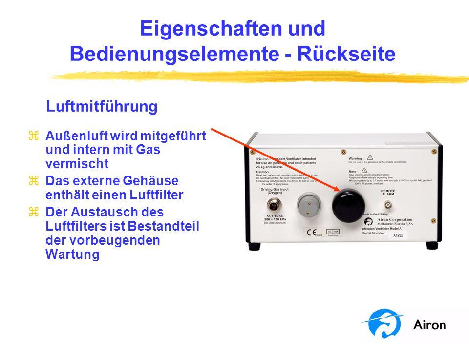 Eigenschaften und Bedienungselemente Rückseite Fernalarmausgang (Remote Alarm) zFernalarmanschluss zEin ordnungsgemäß konfigurierter Fernalarm zeigt einen aktiven Respirator-Alarmzustand an einem abgelegenen Ort an