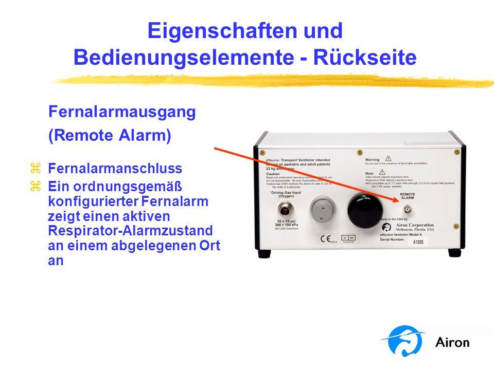 Funktion des Respirators Funktionsweise des Alarmsystems zDie Auslösung des Alarms ist auf 22 Sekunden voreingestellt zDer Abtrennungsalarm reagiert auf einen bestimmten Mindestdruck yBei eingeschalteter mandatorischer Beatmung muss ein Mindestdruck von 15 cm H 2 O erzeugt werden yBei ausgeschalteter mandatorischer Beatmung muss mindestens ein CPAP-Wert von 4 cm H 2 O erreicht werden zSo ertönt der Alarm zum Beispiel, wenn nicht mindestens 15 cm H 2 O Druck für mandatorische Beatmung oder 4 cm H 2 O für CPAP vorliegen zDurch Drücken der Stumm-Taste kann der Alarm für 1 Minute ausgeschaltet werden.