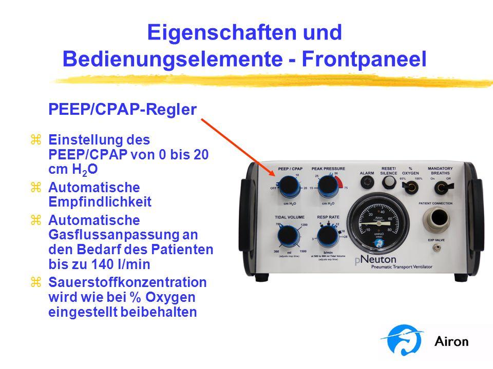 Eigenschaften und Bedienungselemente Frontpaneel Steuerung Maximaldruck (Peak Pressure) zBegrenzt den maximalen Atemwegsdruck von 15 bis 75 cm H 2 O für mandatorische Beatmung zAlarmiert mit einem hupenden Geräusch, wenn der gelieferte Druck den eingestellten Druck schnell übersteigt (z.