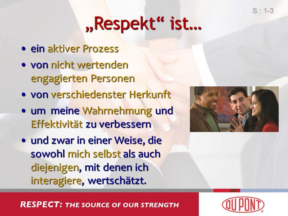 Respekt ist… ein aktiver Prozessein aktiver Prozess von nicht wertenden engagierten Personenvon nicht wertenden engagierten Personen von verschiedenst