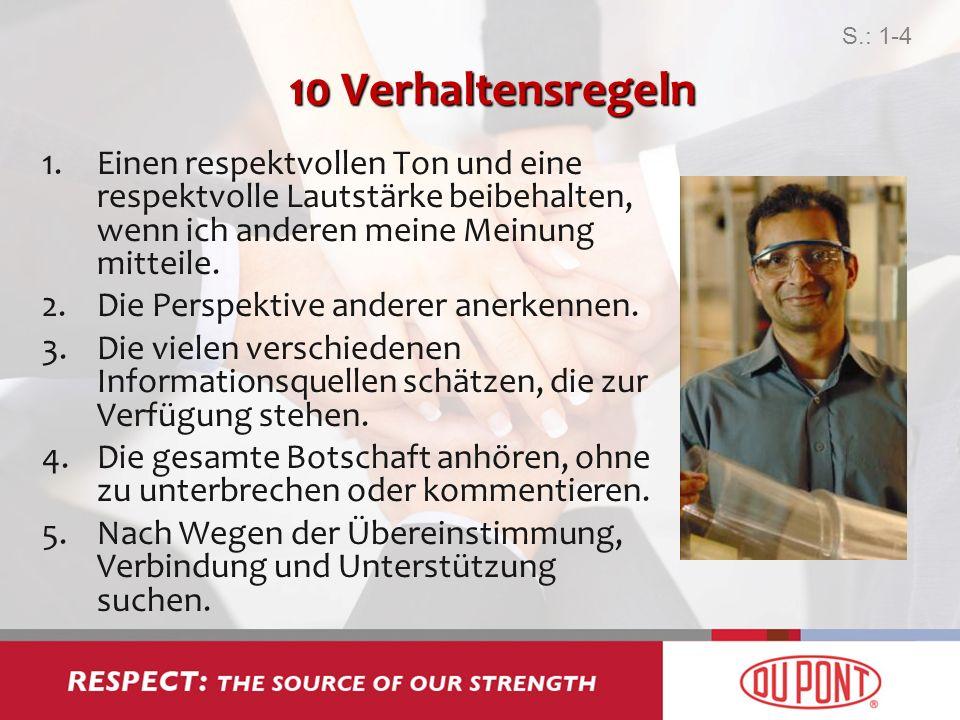 10 Verhaltensregeln 1.Einen respektvollen Ton und eine respektvolle Lautstärke beibehalten, wenn ich anderen meine Meinung mitteile. 2.Die Perspektive