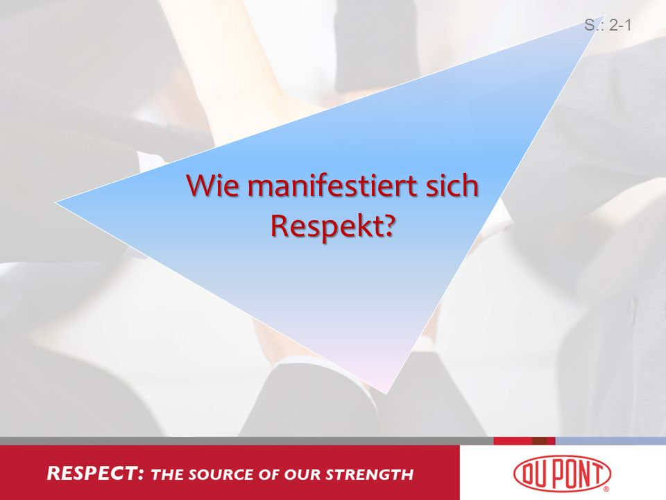 Wie manifestiert sich Respekt? S.: 2-1