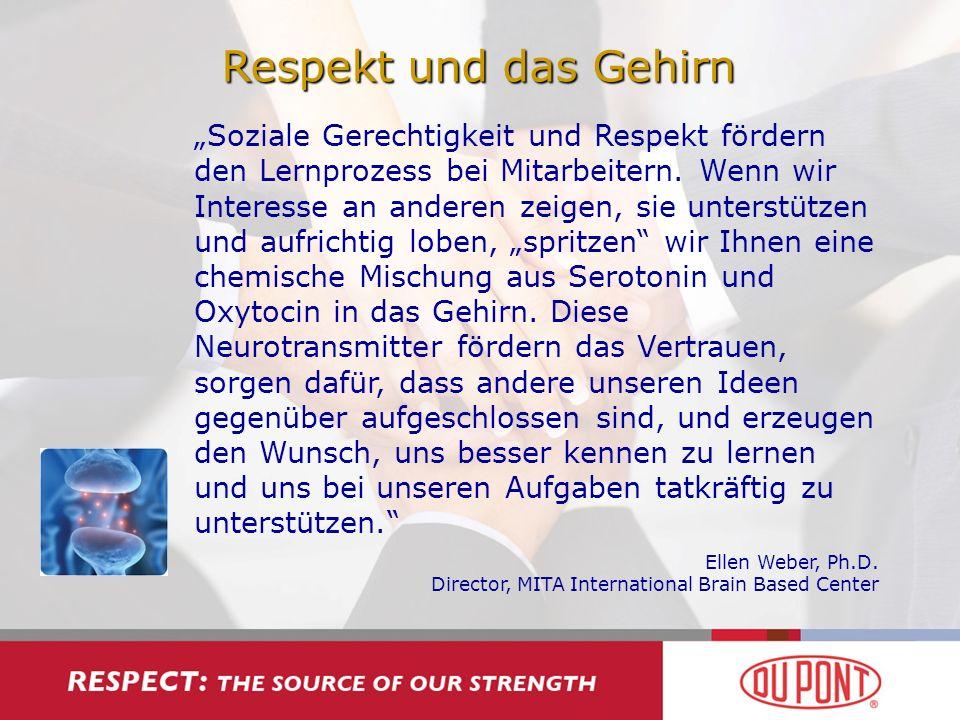 Respekt und das Gehirn Soziale Gerechtigkeit und Respekt fördern den Lernprozess bei Mitarbeitern. Wenn wir Interesse an anderen zeigen, sie unterstüt