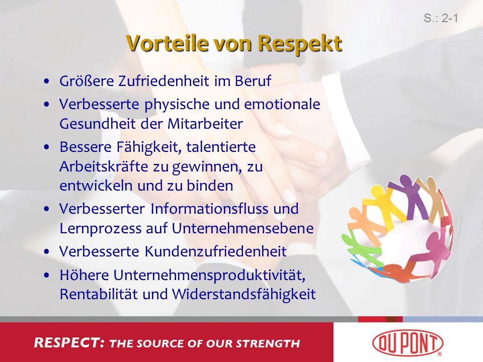 Vorteile von Respekt Größere Zufriedenheit im Beruf Verbesserte physische und emotionale Gesundheit der Mitarbeiter Bessere Fähigkeit, talentierte Arb