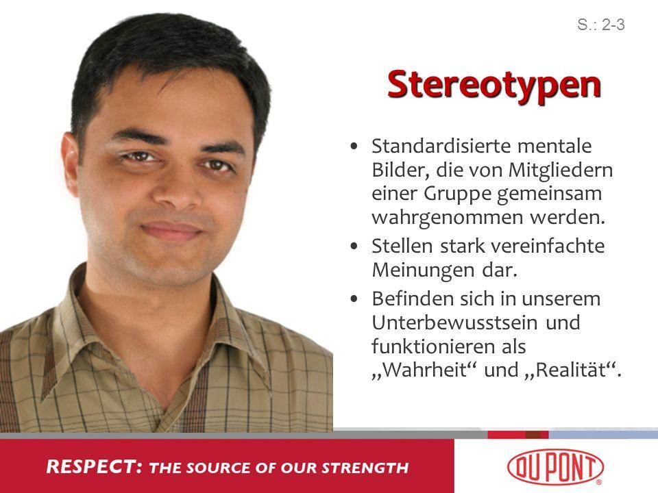 Stereotypen Standardisierte mentale Bilder, die von Mitgliedern einer Gruppe gemeinsam wahrgenommen werden. Stellen stark vereinfachte Meinungen dar.