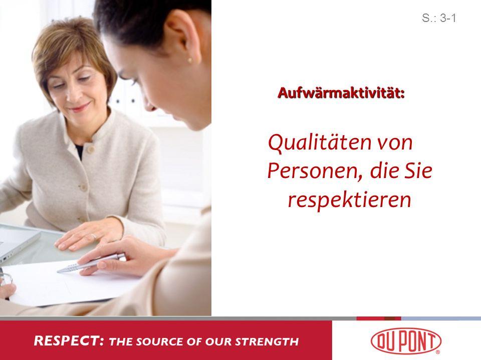 Aufwärmaktivität: Qualitäten von Personen, die Sie respektieren S.: 3-1