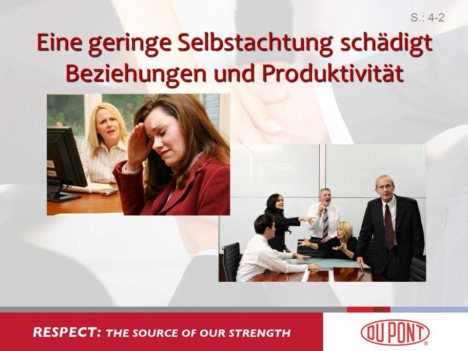 Eine geringe Selbstachtung schädigt Beziehungen und Produktivität S.: 4-2