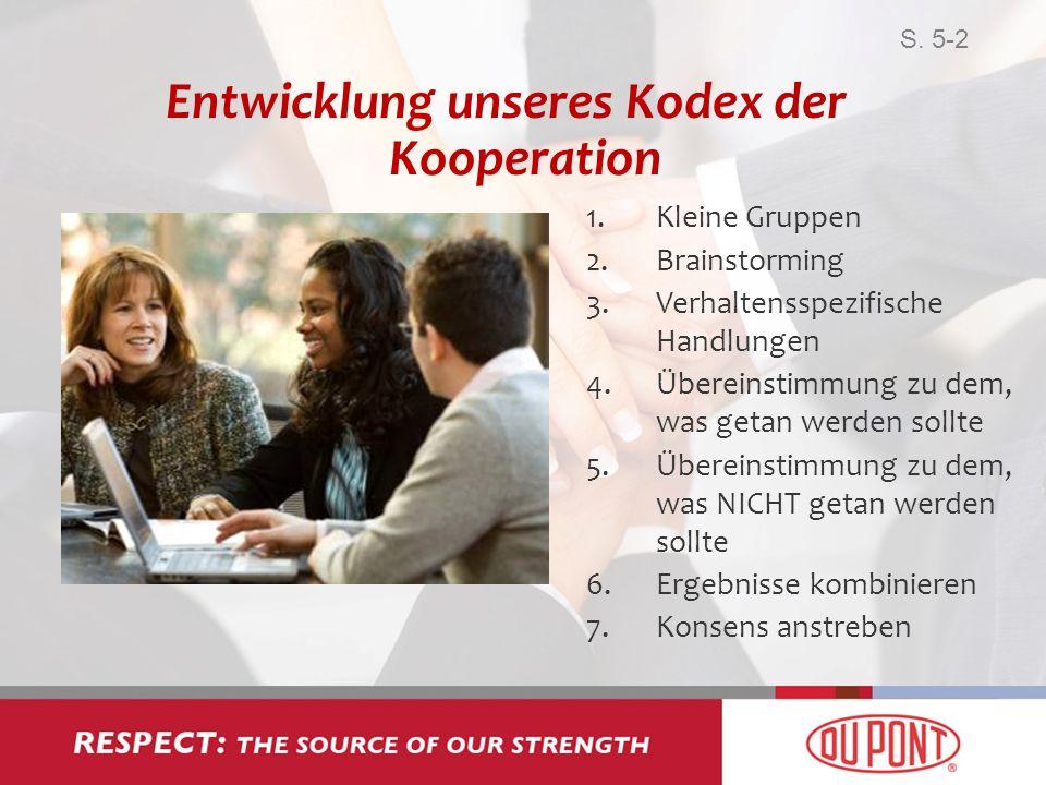 Entwicklung unseres Kodex der Kooperation 1.Kleine Gruppen 2.Brainstorming 3.Verhaltensspezifische Handlungen 4.Übereinstimmung zu dem, was getan werd