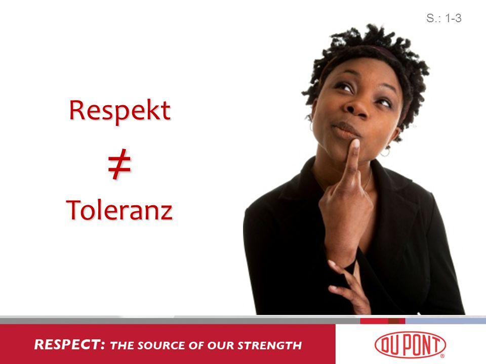 Feindseligkeit Aktiv ----- Aktiv +++++ PassivVermeidung Respekt Toleranz Engagement Der Weg zu Respekt S.: 1-3