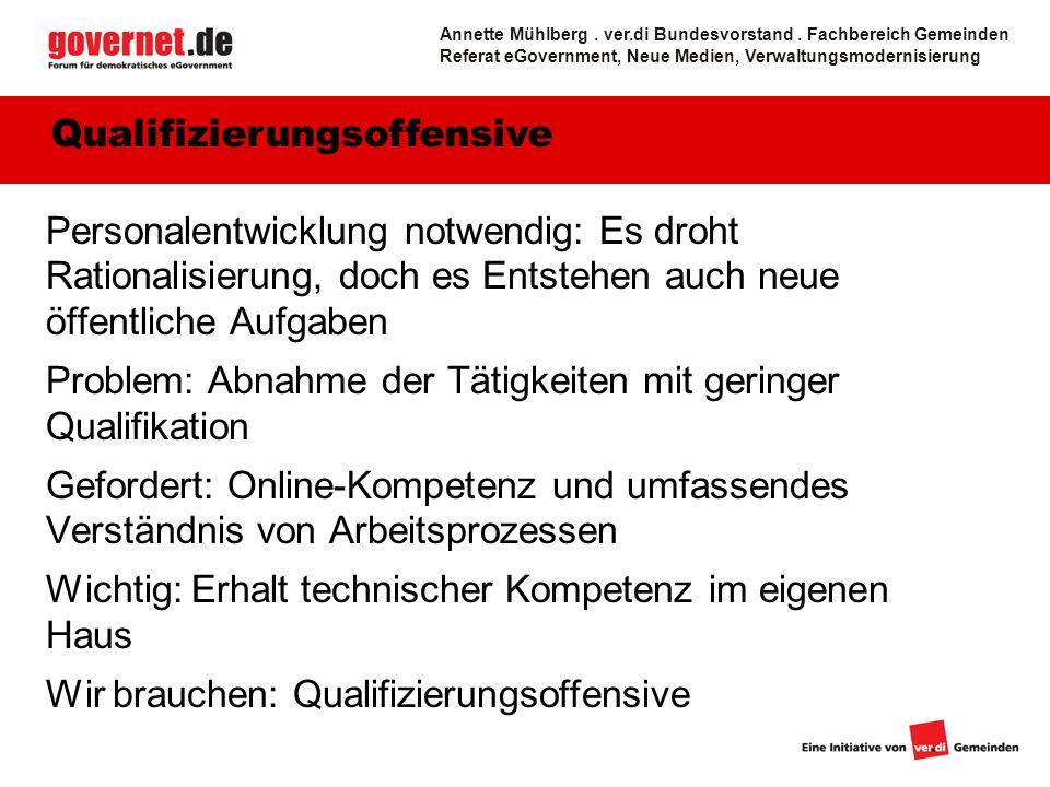 11 Zugänglichkeit: Flächendeckende Vernetzung Neue Aufgaben - Bürgerservice Annette Mühlberg.