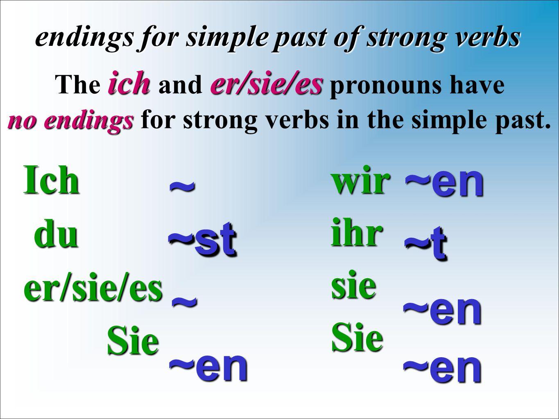 Ich du duer/sie/es Sie Sie endings for simple past of strong verbs wirihrsieSie~~ icher/sie/es The ich and er/sie/es pronouns have no endings no endin