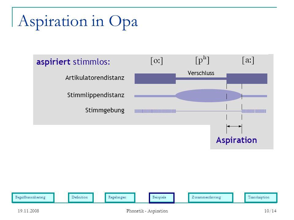 BegriffsannäherungDefinitionRegelungenBeispieleZusammenfassungTranskription 19.11.2008 Phonetik - Aspiration 10/14 Aspiration in Opa
