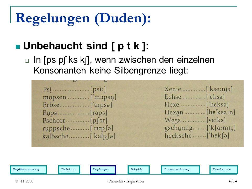 BegriffsannäherungDefinitionRegelungenBeispieleZusammenfassungTranskription 19.11.2008 Phonetik - Aspiration 4/14 Regelungen (Duden): In [ps p ʃ ks k