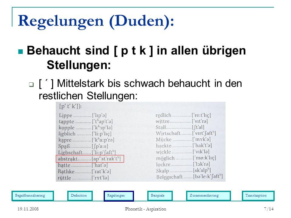 BegriffsannäherungDefinitionRegelungenBeispieleZusammenfassungTranskription 19.11.2008 Phonetik - Aspiration 7/14 Regelungen (Duden): [ ´ ] Mittelstar