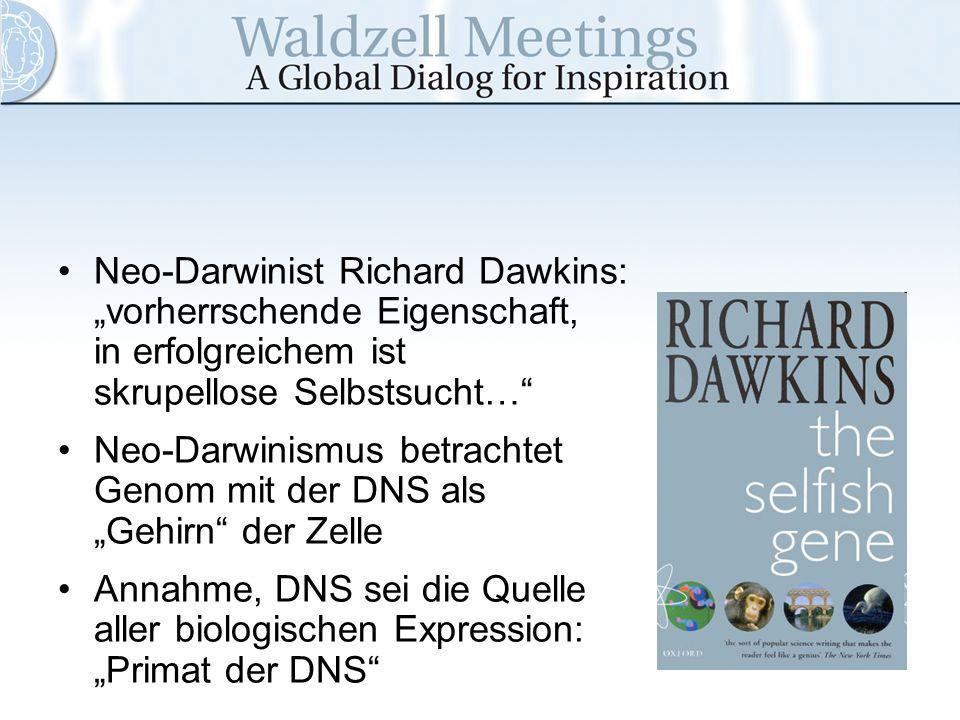 Neo-Darwinist Richard Dawkins: vorherrschende Eigenschaft, in erfolgreichem ist skrupellose Selbstsucht… Neo-Darwinismus betrachtet Genom mit der DNS