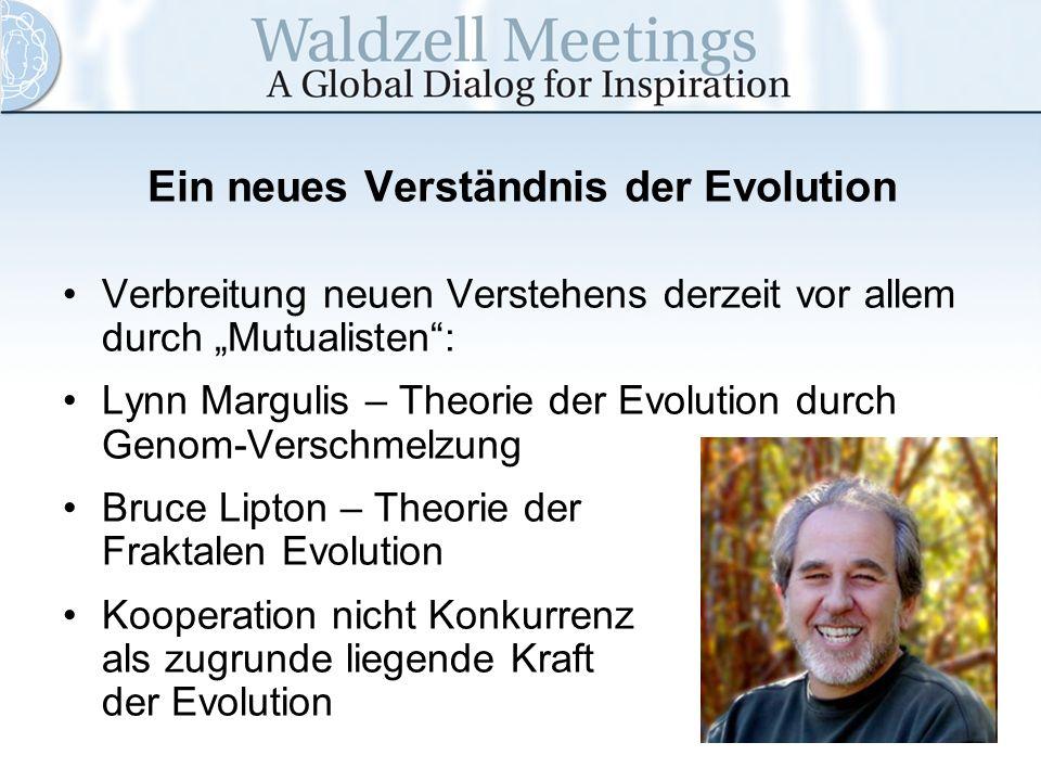 Ein neues Verständnis der Evolution Verbreitung neuen Verstehens derzeit vor allem durch Mutualisten: Lynn Margulis – Theorie der Evolution durch Geno