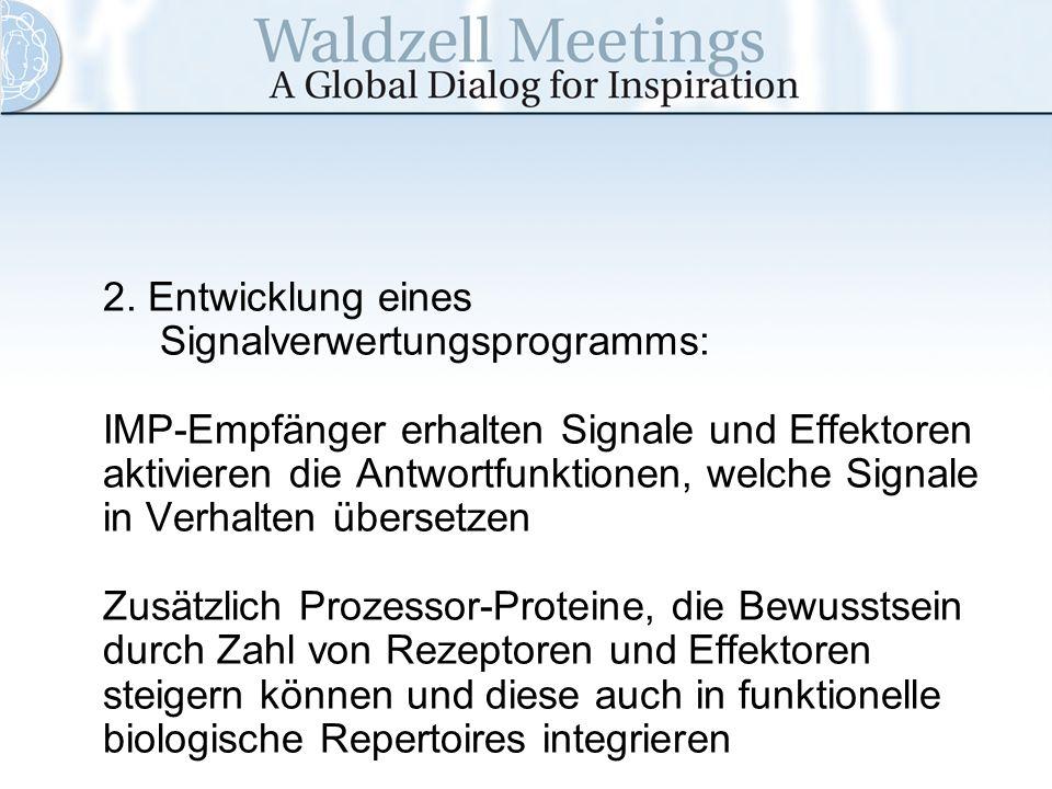 2. Entwicklung eines Signalverwertungsprogramms: IMP-Empfänger erhalten Signale und Effektoren aktivieren die Antwortfunktionen, welche Signale in Ver