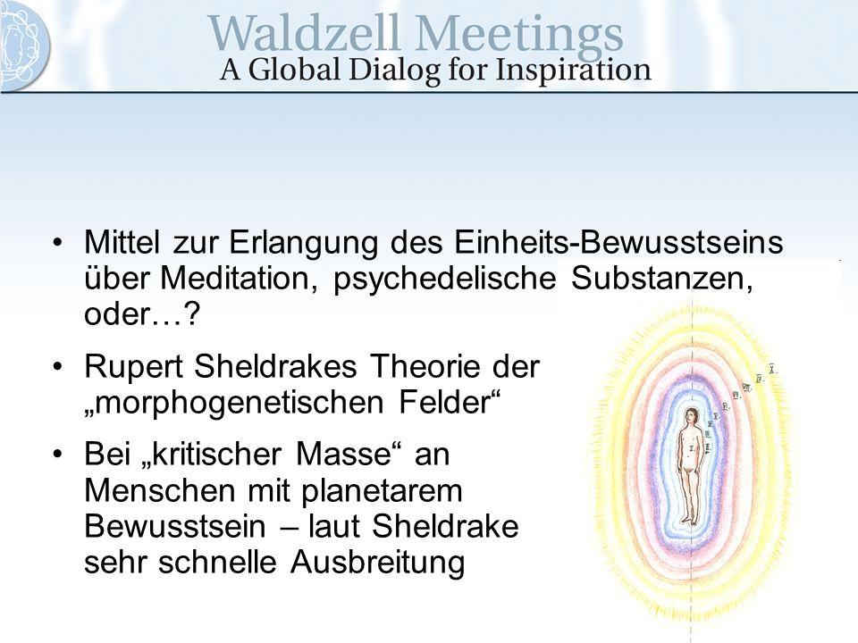 Mittel zur Erlangung des Einheits-Bewusstseins über Meditation, psychedelische Substanzen, oder…? Rupert Sheldrakes Theorie der morphogenetischen Feld
