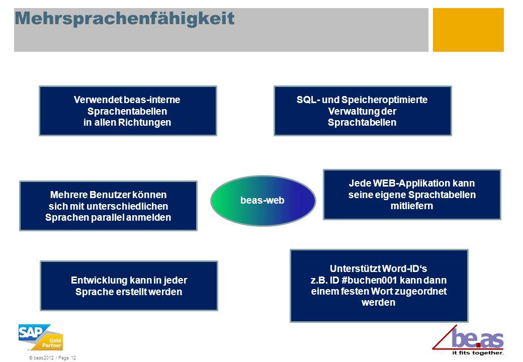 © beas2012 / Page 12 Mehrsprachenfähigkeit Verwendet beas-interne Sprachentabellen in allen Richtungen SQL- und Speicheroptimierte Verwaltung der Spra