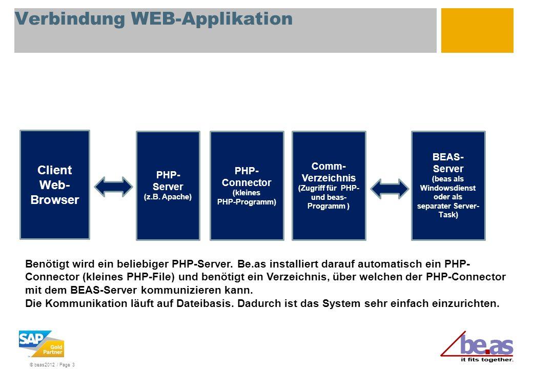 © beas2012 / Page 3 Verbindung WEB-Applikation PHP- Server (z.B. Apache) PHP- Connector (kleines PHP-Programm) Comm- Verzeichnis (Zugriff für PHP- und