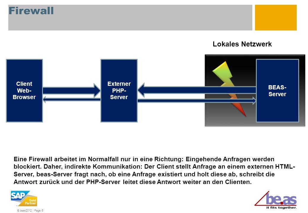 © beas2012 / Page 6 BEAS- Server Client Web- Browser Lokales Netzwerk Eine Firewall arbeitet im Normalfall nur in eine Richtung: Eingehende Anfragen w