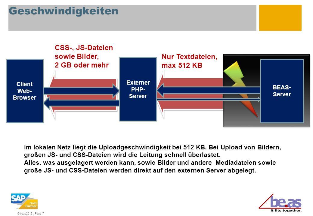 © beas2012 / Page 7 BEAS- Server Client Web- Browser Im lokalen Netz liegt die Uploadgeschwindigkeit bei 512 KB. Bei Upload von Bildern, großen JS- un