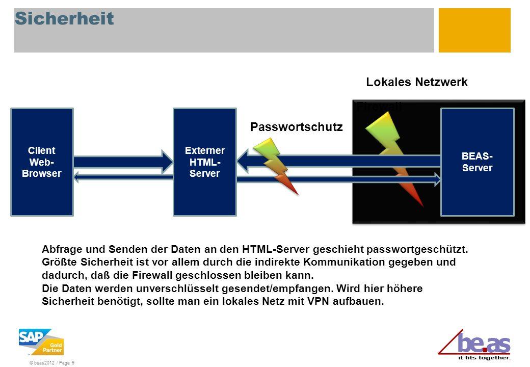 © beas2012 / Page 9 BEAS- Server Client Web- Browser Lokales Netzwerk Abfrage und Senden der Daten an den HTML-Server geschieht passwortgeschützt. Grö