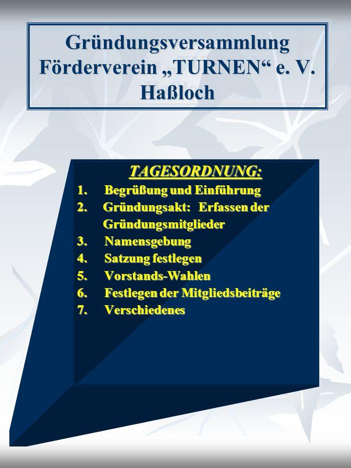 Gründungsversammlung Förderverein TURNEN e. V. Haßloch TAGESORDNUNG: 1.Begrüßung und Einführung 2. Gründungsakt: Erfassen der Gründungsmitglieder Grün