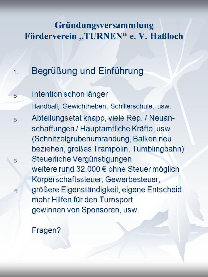 Gründungsversammlung Förderverein TURNEN e. V. Haßloch 1. Begrüßung und Einführung Intention schon länger Intention schon länger Handball, Gewichthebe
