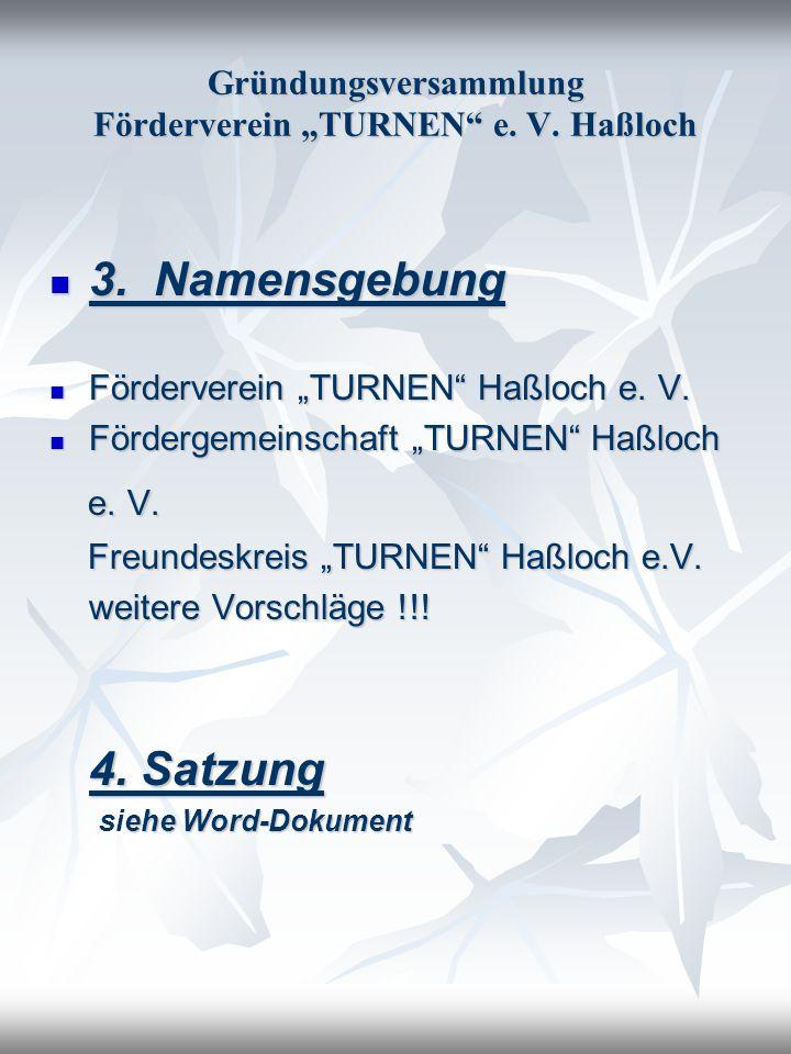 Gründungsversammlung Förderverein TURNEN e. V. Haßloch 3. Namensgebung 3. Namensgebung Förderverein TURNEN Haßloch e. V. Förderverein TURNEN Haßloch e