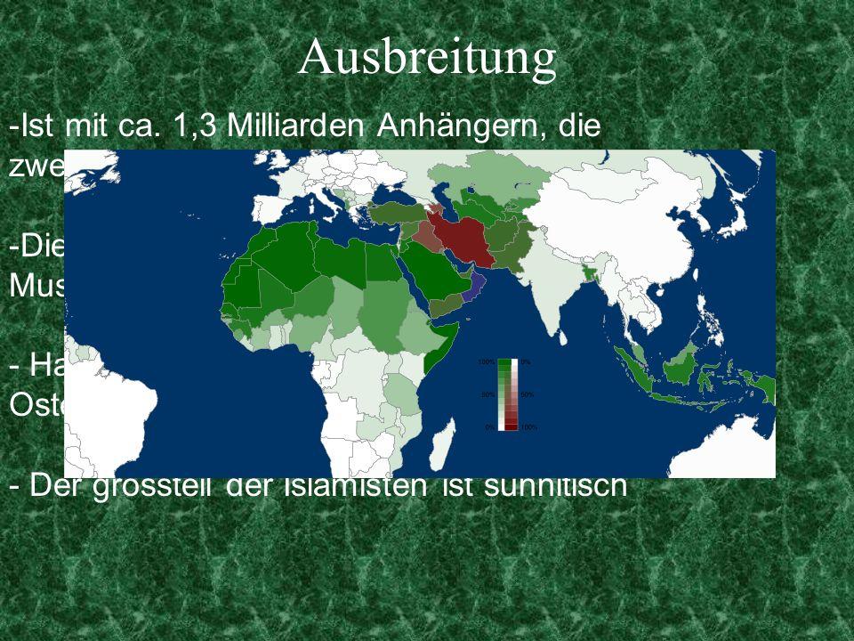 Ausbreitung -Ist mit ca. 1,3 Milliarden Anhängern, die zweit größte Religion der Erde -Die Anhänger des Islams nennen sich Muslime - Hauptvorkommen: N