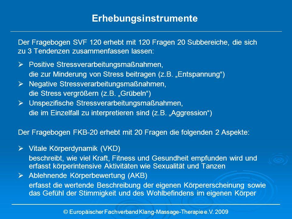 Der Fragebogen SVF 120 erhebt mit 120 Fragen 20 Subbereiche, die sich zu 3 Tendenzen zusammenfassen lassen: Positive Stressverarbeitungsmaßnahmen, die