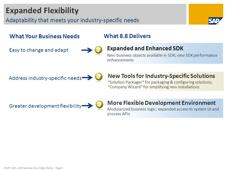 © SAP 2009 – SAP Business One a Glance / Page 5 Easy to change and adapt Address industry-specific needs Greater development flexibility Expanded Flexibility Adaptability that meets your industry-specific needs Expanded and Enhanced SDK New business objects available in SDK; new SDK performance enhancements More Flexible Development Environment Modularized business logic; expanded access to system UI and process APIs New Tools for Industry-Specific Solutions Solution Packager for packaging & configuring solutions; Company Wizard for simplifying new installations What 8.8 Delivers What Your Business Needs
