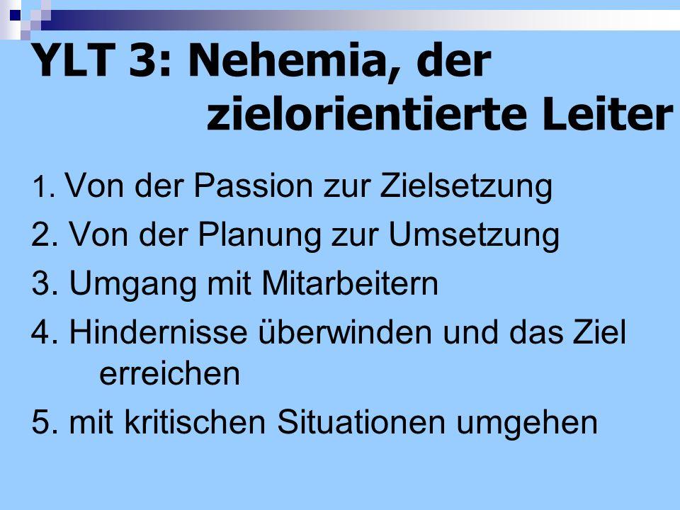 YLT 3: Nehemia, der zielorientierte Leiter 1. Von der Passion zur Zielsetzung 2. Von der Planung zur Umsetzung 3. Umgang mit Mitarbeitern 4. Hindernis