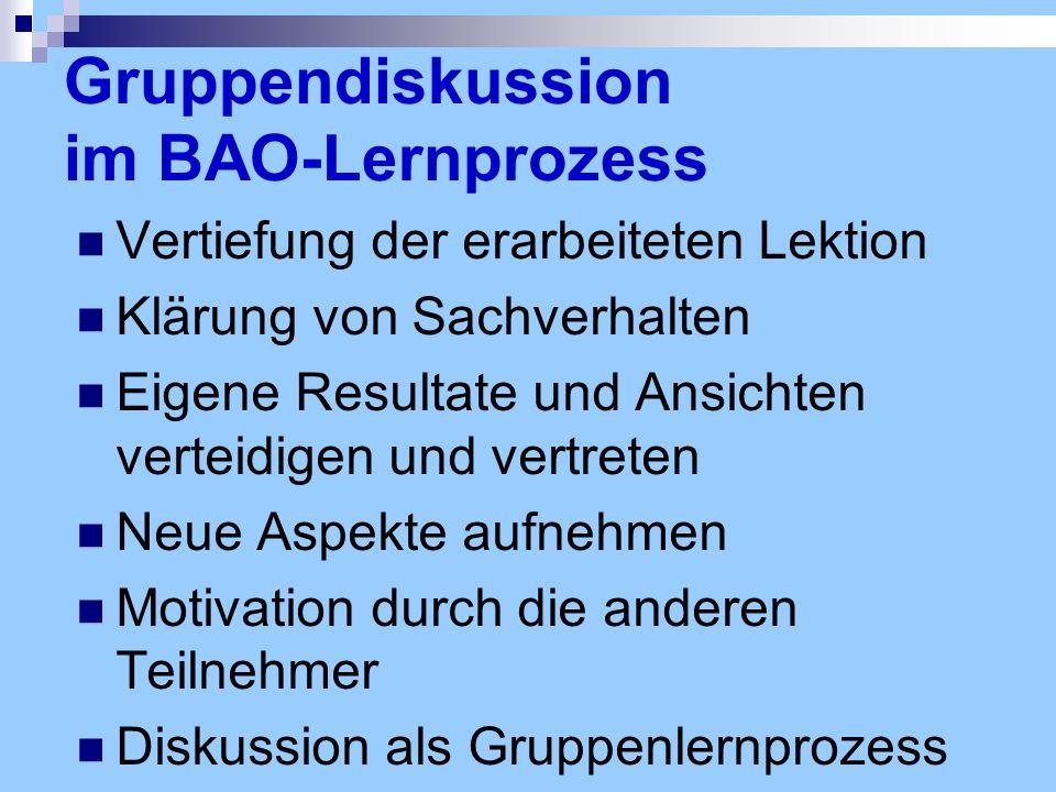 Gruppendiskussion im BAO-Lernprozess Vertiefung der erarbeiteten Lektion Klärung von Sachverhalten Eigene Resultate und Ansichten verteidigen und vert