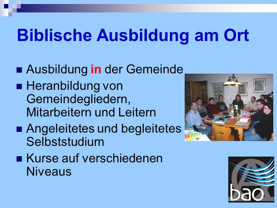 Studienerfolge dem BAO-Büro mitteilen Zeugnisse überreichen Die Teilnehmer ermutigen, das Gelernte in Familie, Gemeinde und Welt in die Praxis umsetzen BAO-Kursabschluss Schritt 7