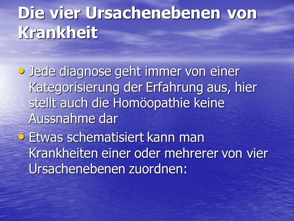 Die vier Ursachenebenen von Krankheit Jede diagnose geht immer von einer Kategorisierung der Erfahrung aus, hier stellt auch die Homöopathie keine Aus