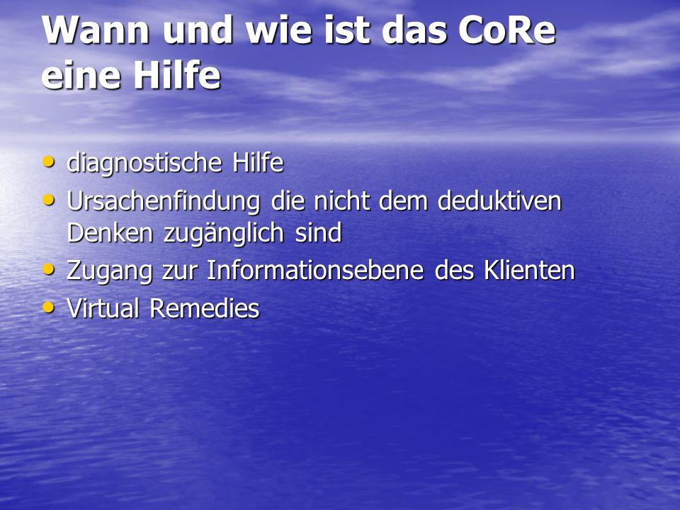 Wann und wie ist das CoRe eine Hilfe diagnostische Hilfe diagnostische Hilfe Ursachenfindung die nicht dem deduktiven Denken zugänglich sind Ursachenf