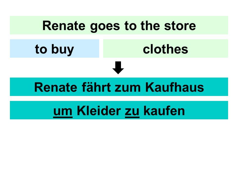 Renate goes to the store clothesto buy Renate fährt zum Kaufhaus um Kleider zu kaufen