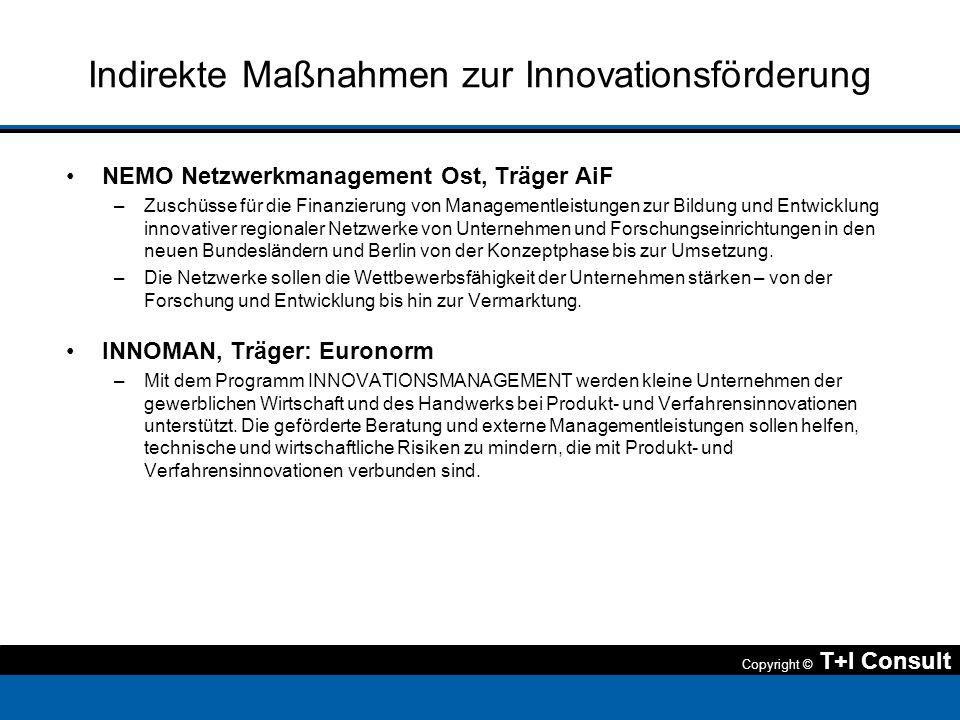 Copyright © T+I Consult Indirekte Maßnahmen zur Innovationsförderung NEMO Netzwerkmanagement Ost, Träger AiF –Zuschüsse für die Finanzierung von Manag