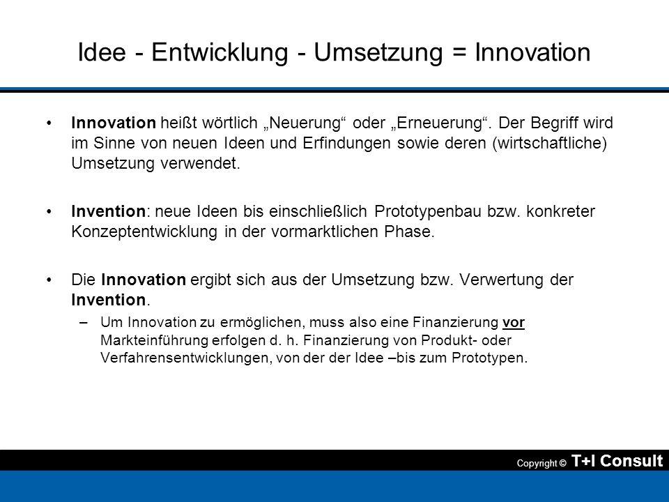 Copyright © T+I Consult Idee - Entwicklung - Umsetzung = Innovation Innovation heißt wörtlich Neuerung oder Erneuerung. Der Begriff wird im Sinne von