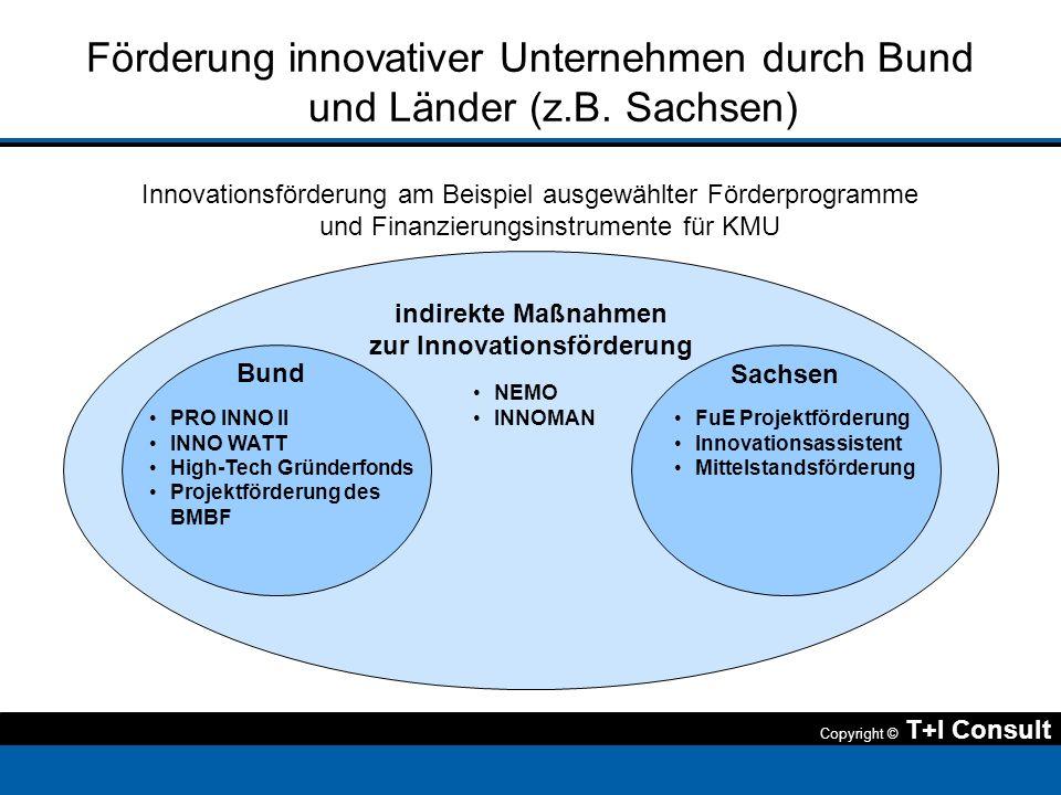 Copyright © T+I Consult Förderung innovativer Unternehmen durch Bund und Länder (z.B. Sachsen) Innovationsförderung am Beispiel ausgewählter Förderpro
