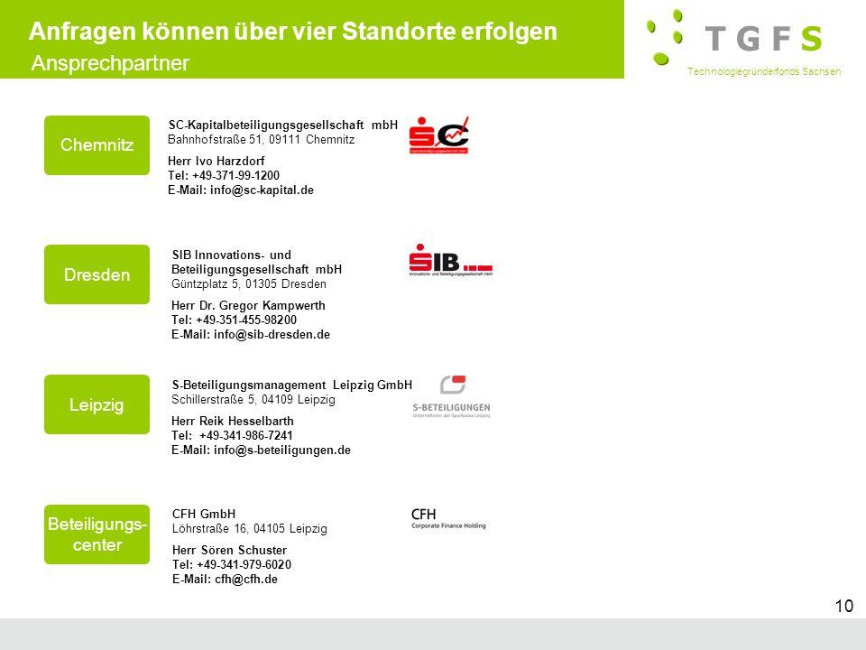 T G F S Technologiegründerfonds Sachsen Subtitle 10 Anfragen können über vier Standorte erfolgen Chemnitz SC-Kapitalbeteiligungsgesellschaft mbH Bahnh
