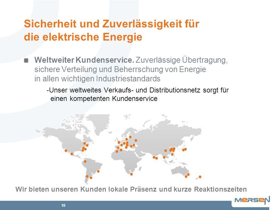 10 Weltweiter Kundenservice. Zuverlässige Übertragung, sichere Verteilung und Beherrschung von Energie in allen wichtigen Industriestandards -Unser we