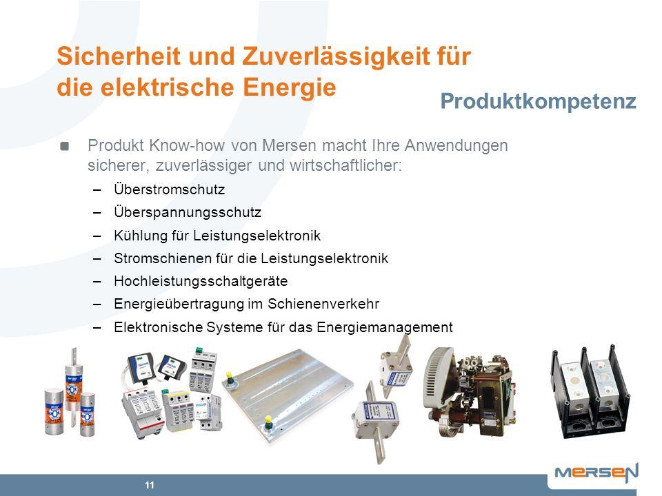 11 Produkt Know-how von Mersen macht Ihre Anwendungen sicherer, zuverlässiger und wirtschaftlicher: –Überstromschutz –Überspannungsschutz –Kühlung für