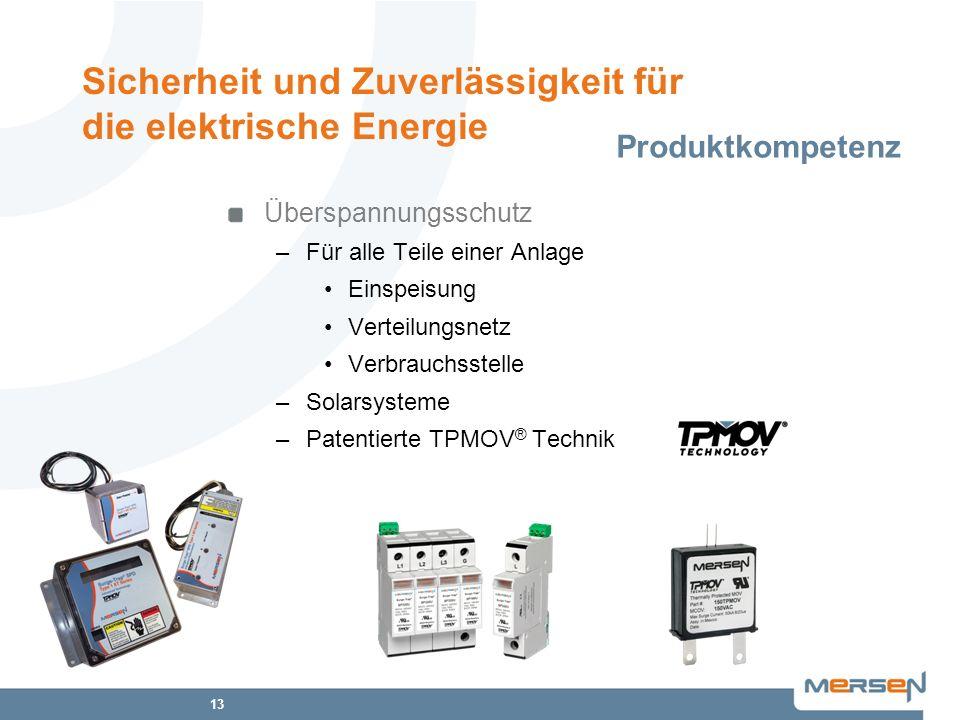 13 Überspannungsschutz –Für alle Teile einer Anlage Einspeisung Verteilungsnetz Verbrauchsstelle –Solarsysteme –Patentierte TPMOV ® Technik Produktkom
